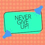 Writing note showingNever Give Up. Business photo showcasing Keep trying until you succeed follow your dreams goals Two. Megaphone with Sound icon on Color royalty free illustration