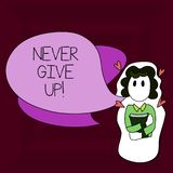 Writing note showingNever Give Up. Business photo showcasing Keep trying until you succeed follow your dreams goals. Writing note showingNever Give Up. Business royalty free illustration
