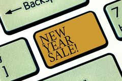 Writing note showingNew Year Sale. Business photo showcasing Final holiday season discounts price reductions Offers. Keyboard key Intention to create computer stock illustration