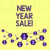 Writing note showingNew Year Sale. Business photo showcasing Final holiday season discounts price reductions Offers. Writing note showingNew Year Sale. Business vector illustration