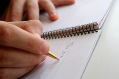 Writing in the notebook. Royalty Free Stock Photos