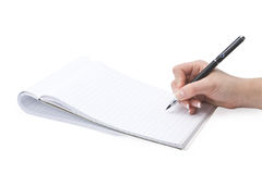 Writing in a notebook hand Royalty Free Stock Image