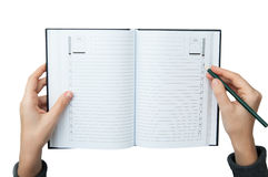 Writing in the notebook Stock Photos