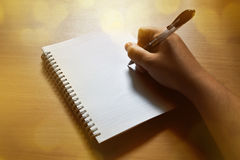 Writing on notebook. At home Stock Photo