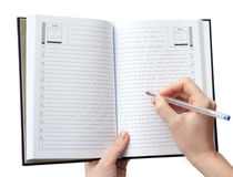 Writing in the notebook Royalty Free Stock Photography