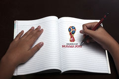 Writing notebook  world cup russia Royalty Free Stock Photos