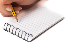 Writing on Notepad Royalty Free Stock Images