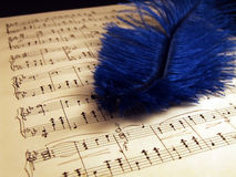 Writing notes. Piano sheets with blue feather stock photo