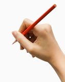 Writing or Notes with hand. Stance in writing to color pencils Stock Photos