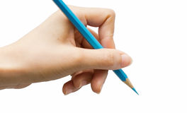 Writing or Notes with hand. Stance in writing to color pencils Stock Image