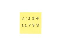 Writing number 0 to 9 in post it note Royalty Free Stock Photography
