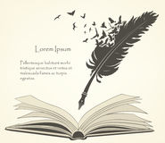 Old feather with flying birds and open book Royalty Free Stock Photography