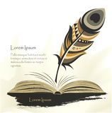 Writing old pen multicolored feather with book stock illustration