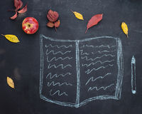 Writing pad or copybook and pen hand drawn in chalk on a blackbo Stock Photography