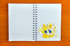 Notepad with a Pills stock image