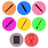 Writing and painting equipment icon designs Stock Photography
