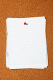 Writing paper on corkboard Royalty Free Stock Images