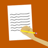 Writing in the Paper. This is illustration of write Stock Illustration
