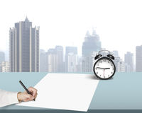 Writing on paper in office Royalty Free Stock Image
