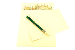 Writing paper and pen. Writing paper envelope and pen isolated on white Royalty Free Stock Photo