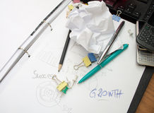 Writing on paper sheet with stationery Royalty Free Stock Photo