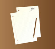 Writing papers, pencil and paper clips. Royalty Free Stock Photography