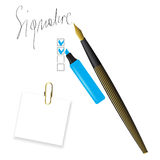 Writing pen head and signature Royalty Free Stock Image