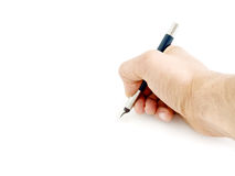 Writing with pen Stock Photo