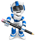 The writing with a pencil a Blue Robot Royalty Free Stock Photography
