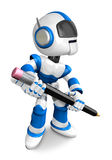 The writing with a pencil a Blue Robot Royalty Free Stock Photos