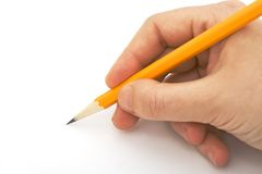 Writing with pencil isolated Royalty Free Stock Images