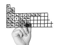 Writing a periodic table Stock Photo