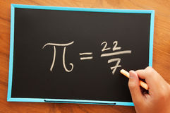 Writing pi formula Stock Photos
