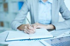 Writing plan biznesowy zdjęcie stock
