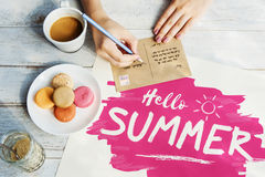 Writing Postcard Summer Letter Concept Royalty Free Stock Photos