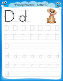 Writing practice letter D Stock Image