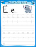 Writing practice letter E. Printable worksheet for preschool / kindergarten kids to improve basic writing skills stock illustration