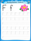 Writing practice letter F. Printable worksheet for preschool / kindergarten kids to improve basic writing skills stock illustration