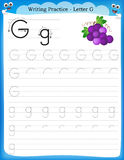 Writing practice letter G Royalty Free Stock Images