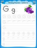 Writing practice letter G. Printable worksheet for preschool / kindergarten kids to improve basic writing skills stock illustration