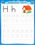 Writing practice letter H Stock Photo