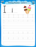 Writing practice letter I Stock Images