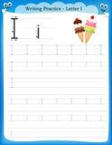 Writing practice letter I. Printable worksheet for preschool / kindergarten kids to improve basic writing skills stock illustration
