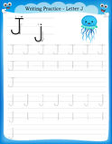 Writing practice letter J Stock Images