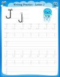 Writing practice letter J. Printable worksheet for preschool / kindergarten kids to improve basic writing skills royalty free illustration