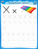 Writing practice letter X. Printable worksheet with clip art for preschool / kindergarten kids to improve basic writing skills stock illustration