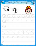 Writing practice letter Q Royalty Free Stock Photography