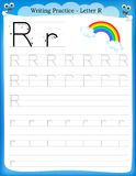 Writing practice letter R Stock Image