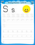 Writing practice letter S. Printable worksheet woth clip art for preschool / kindergarten kids to improve basic writing skills Stock Photos