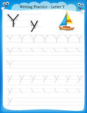 Writing practice letter Y Stock Images